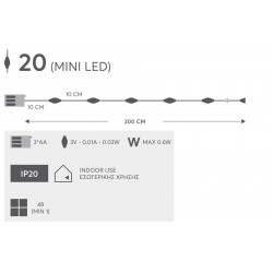 Fairy Lights 20 Led Σε Σειρά Με Μπαταρία - Ασημί Χαλκός - IP20 3x AA 200cm Magic Christmas