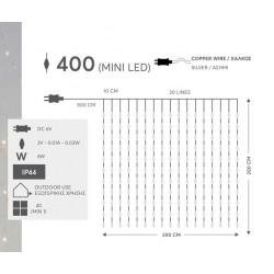 400 Μίνι Led σε Σειρά Κουρτίνα Σε Ασημί Χάλκινο Καλώδιο - IP44 3000Κ 250cm Magic Christmas