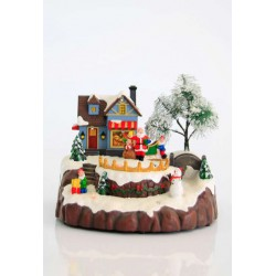 8 LED Christmas Village With Santa Claus And Snowman With Music And Movement 20x19x15,5 Magic Christmas