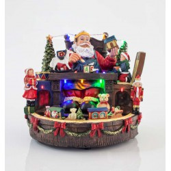 11 LED Christmas Office of Santa Claus With Music And Movement 23X23.5X22.5 cm Magic Christmas