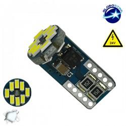 Λαμπτήρας LED T10 Can Bus με 12 SMD 3014 Samsung Chip 24V 6000K GloboStar