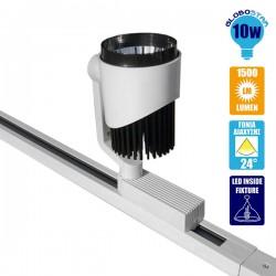 Μονοφασικό Bridgelux COB LED Φωτιστικό Σποτ Ράγας 10W 230V 1500lm 24 Μοίρων Θερμό Λευκό 3000K GloboStar