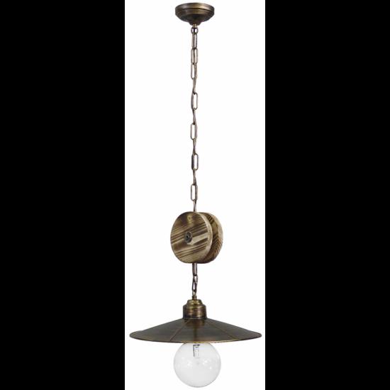 Pendant Lamp Wooden With Metal Chain R-180K 1L Heronia Lighting