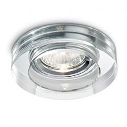 Σποτ Χωνευτό Από Γυαλισμένο Αλουμίνιο Και Γυαλί Στρογγυλό LED 1 x 50W GU10 Ø 9,5cm BLUES ROUND IDEAL LUX