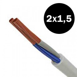Electrical Cable Flexible H05VVF 2X1.5mm² White And Black TOP ELECTRONIC