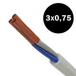 Electrical Cable Flexible H05VVF 3X0.75mm² White TOP ELECTRONIC