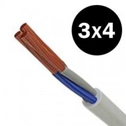 Electrical Cable Flexible H05VVF 3X4mm²  In Black And White TOP ELECTRONIC