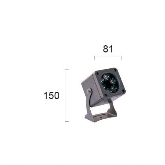 LED Aluminium Prosector In Dark Gray L81X81 IP66 5x2W 25° 1100Lm 3000K Aris VIOKEF