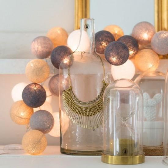 Έτοιμη Διακοσμητική Γιρλάντα Beelights Με Φωτάκια Σε Χρωματισμούς Gray Sand