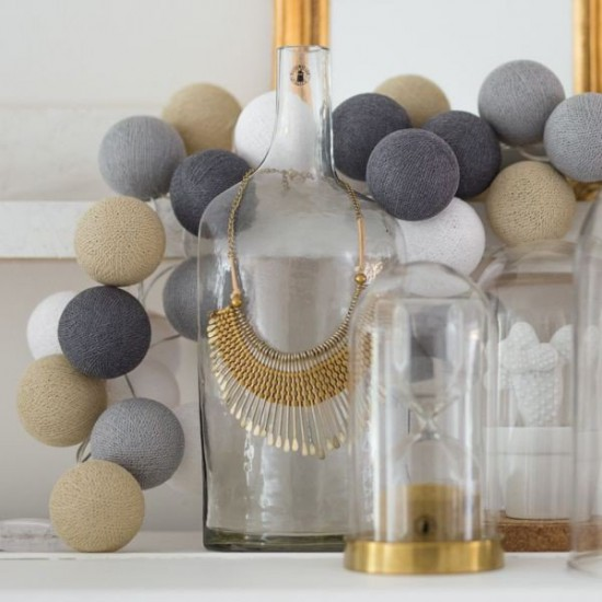 Decorative Festoon Beelights with Lamps in Gray Sand Colours