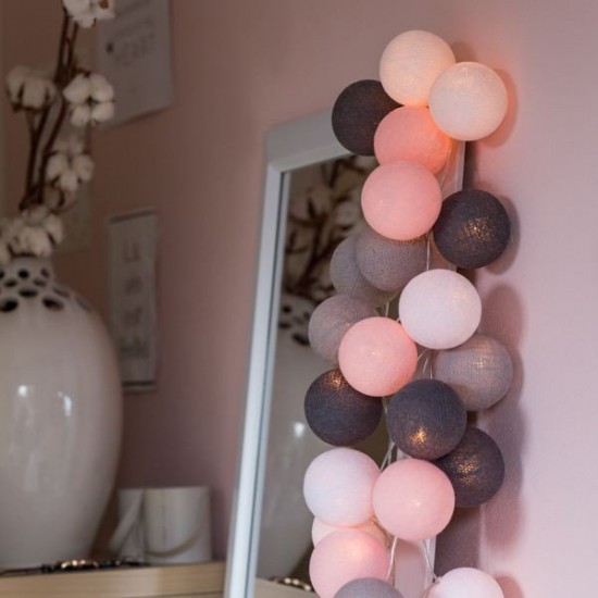 Decorative Festoon Beelights with Lamps in Pink Cloud Colours