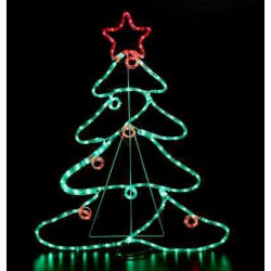 Led Tree With Balls And Star, With 6m Rope Light,88X68cm, IP44