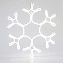 White Snowflake With 3m Neon Rope Light, 45x35cm, IP44