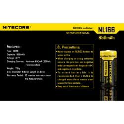 NITECORE BATTERY NL166, RCR123A / 650mAh