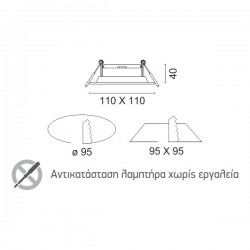 MR16-GU10 Ceiling Mounted Spot 1 Slot Rotation To All Directions Spotlight