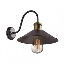 Lighting Fixture Wall Lamp Single Base Metallic Dark Brown With Aged Metal Details 1xE27 Rustic VIOKEF