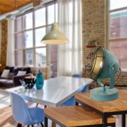 Vintage Μονόφωτο Μεταλλικό Επιτραπέζιο Φωτιστικό Σε Μπλε Χρώμα Levi 1xE27 VIOKEF