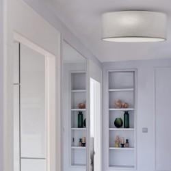 Ceiling Light Fixture With Fabric Shade In Light Grey 3xE14 Bristol VIOKEF