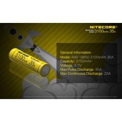 Μπαταρία NITECORE IMR18650 3100mah 35A FlatTop